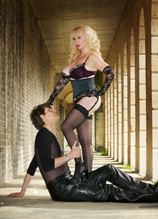 Slave Santino worshiping Mistress Tanya's of London Leg